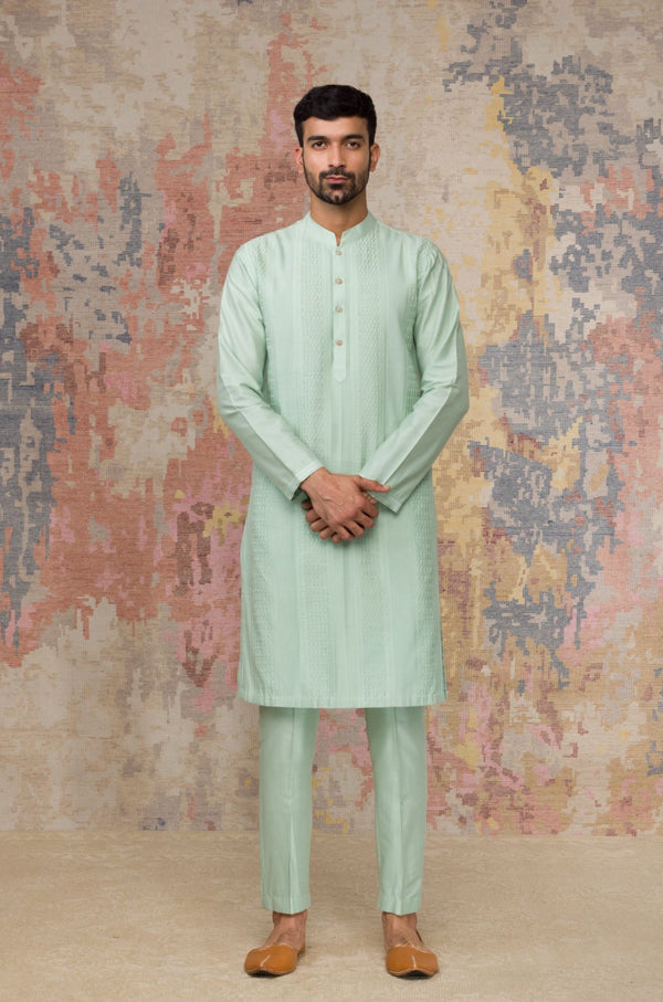 Sea Green Pintuck Kurta In Cotton Silk Blend Set