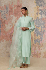 Sea Green Cotton Silk Blend Kurta With Pin Tuck
