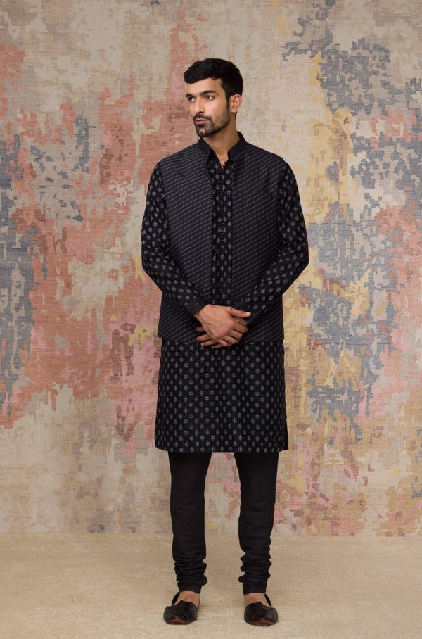 Black Block Printed Chanderi Silk Kurta Bundi Set