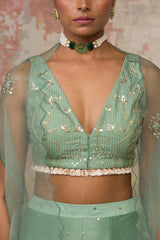 Green Woven Blouse With Sharara