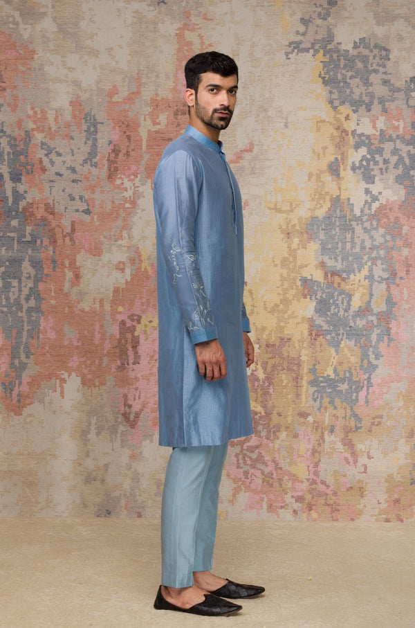 Ash Blue Kurta In Silk Chanderi Set