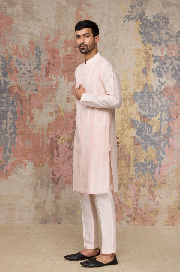 Blush Kurta Pintuck In Cotton Silk Blend Set