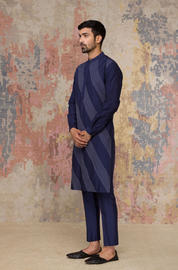 Navy Blue Kurta In Cotton Silk Blend Set
