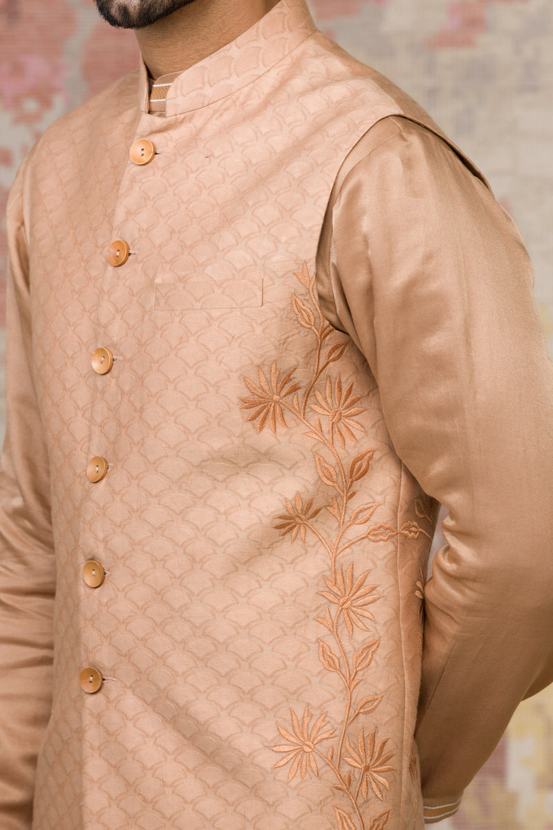 Beige Cotton Silk Satin Kurta Bundi Set