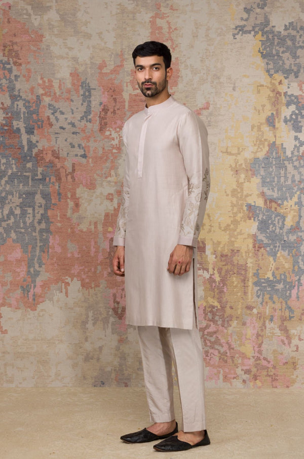 Walnut Kurta In Silk Chanderi Set