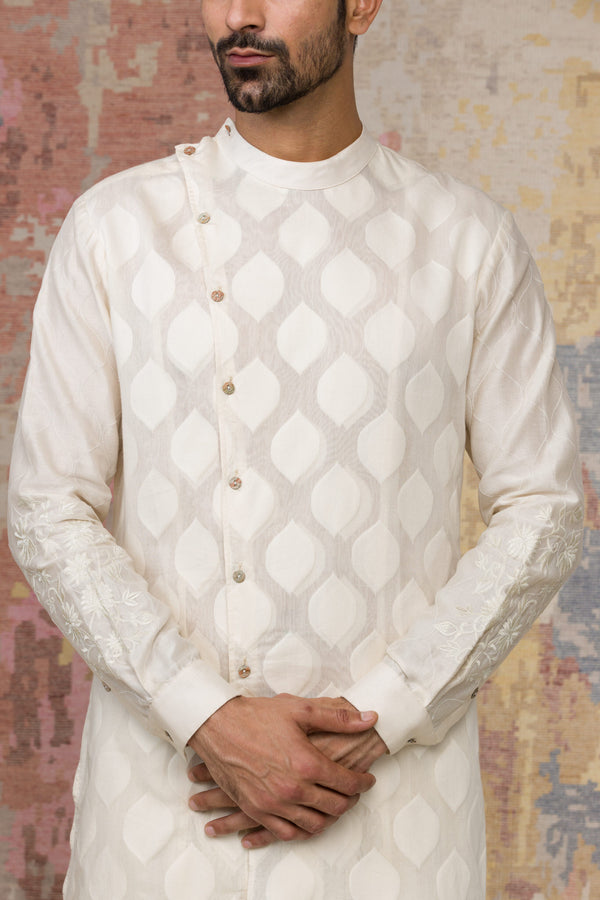 Ivory Woven Kurta In Chanderi Base Set