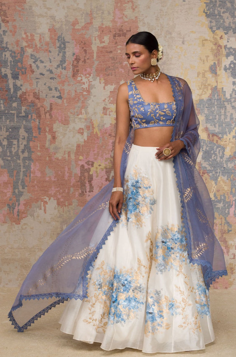 Blue Chanderi Silk Blouse Lehenga Set