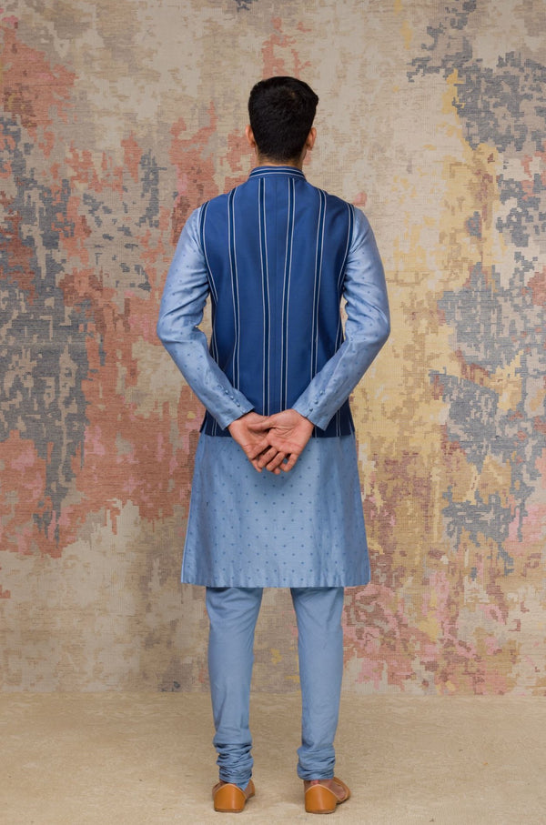 Ash Blue Block Printed Chanderi Silk Kurta Bundi Set