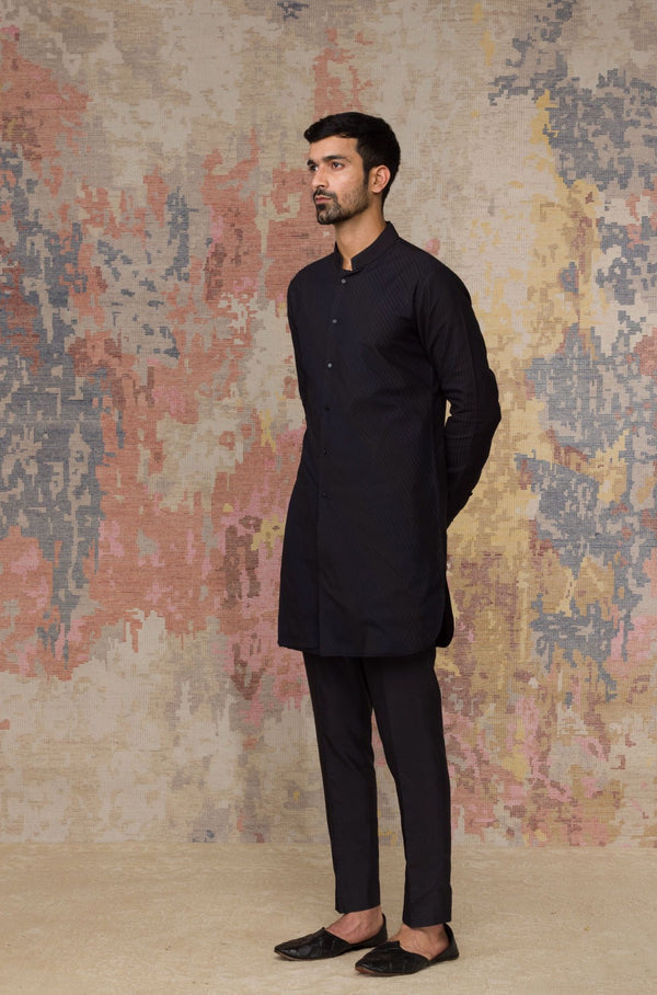 Black Shirt Kurta In Cotton Silk Blend Set