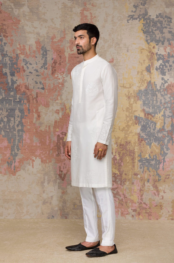 Ivory Kurta In Cotton Silk Blend Set