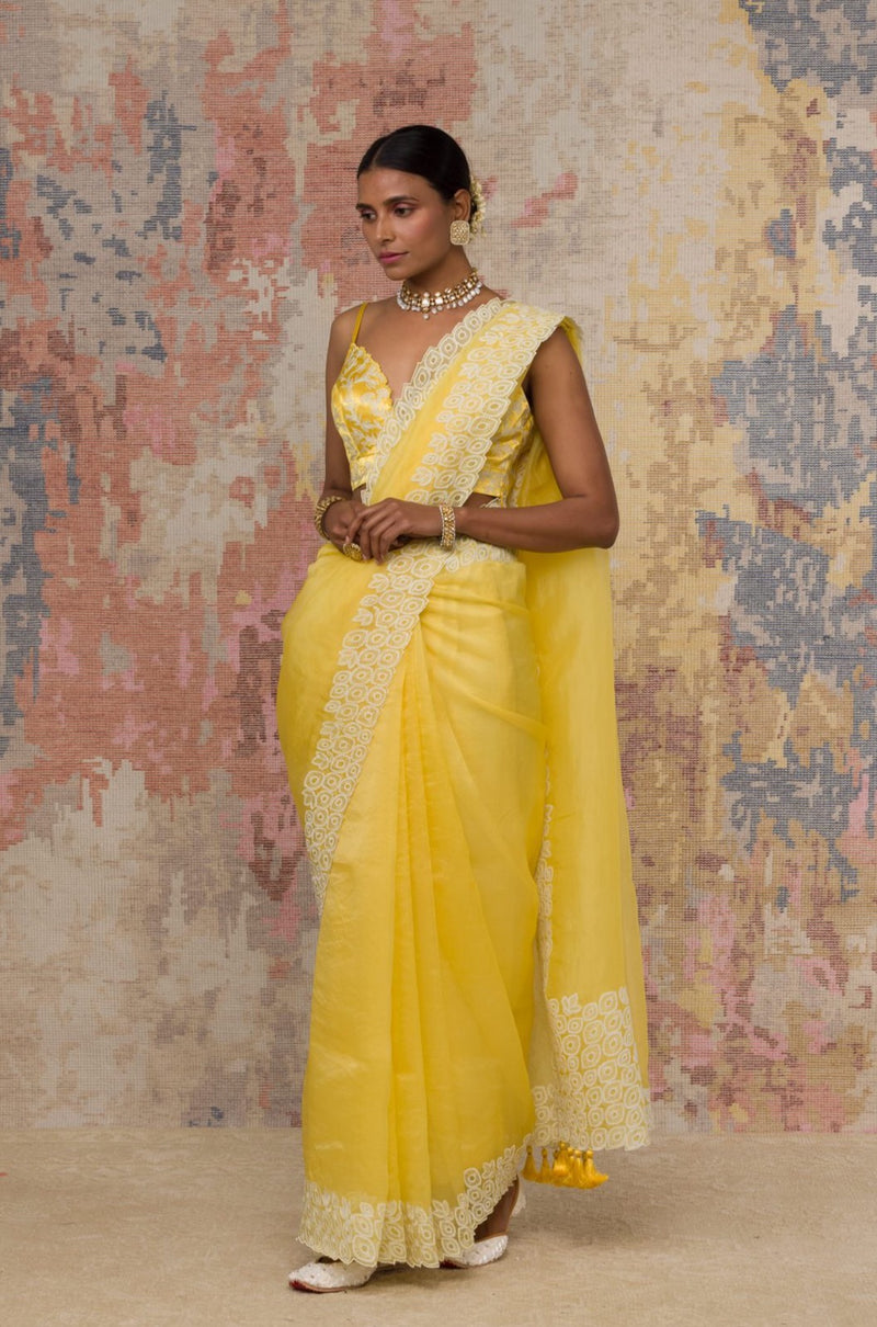 Yellow Silk Organza Saree