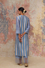 Ash Blue Chanderi Hand Block Printed Kurta Set