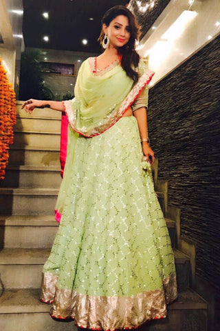 Adaa Khan In Green Gota Patti Embroidered Lehenga Set