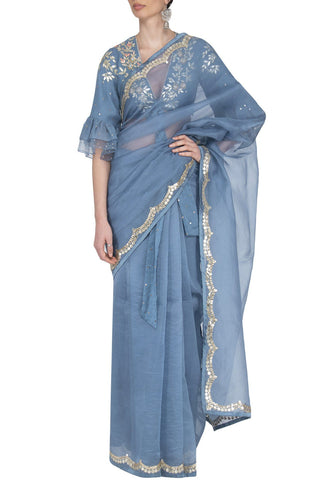 Airforce Blue Saree with Mul Mukaish Blouse - devnaagri