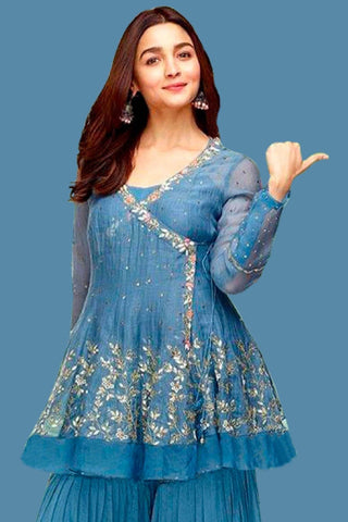 Alia Bhatt In Airforce Blue Angrakha Kurta with Sharara