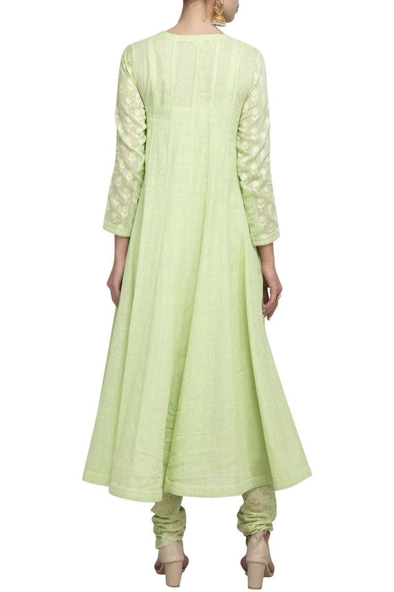 Green Angrakha Kurta with Churidar - devnaagri