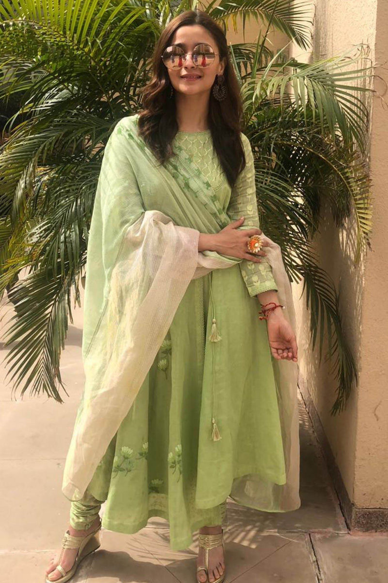 Alia Bhatt In Green Angrakha Kurta with Churidar