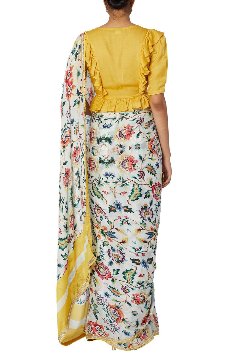 Printed Saree With Mustard Blouse