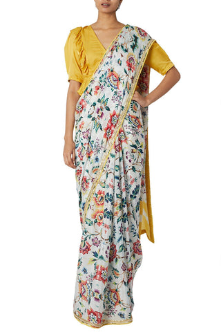 All Over Printed Saree with Mustard Blouse
