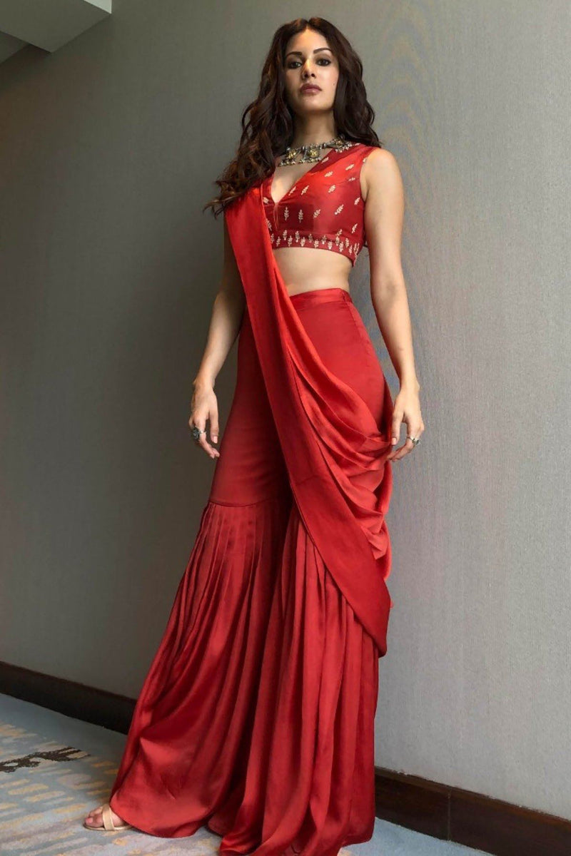 Amyra Dastur In Red Sharara with Chanderi Blouse