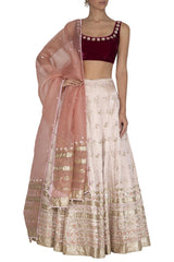 Apricot Blush Lehenga with Burgundy Blouse and Peach Dupatta - devnaagri