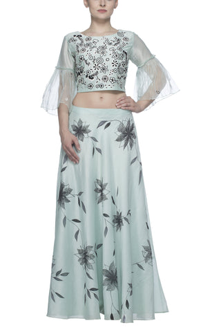 Aqua Crop Top and Skirt Set - devnaagri