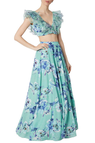 Aqua Digital Printed Skirt Set