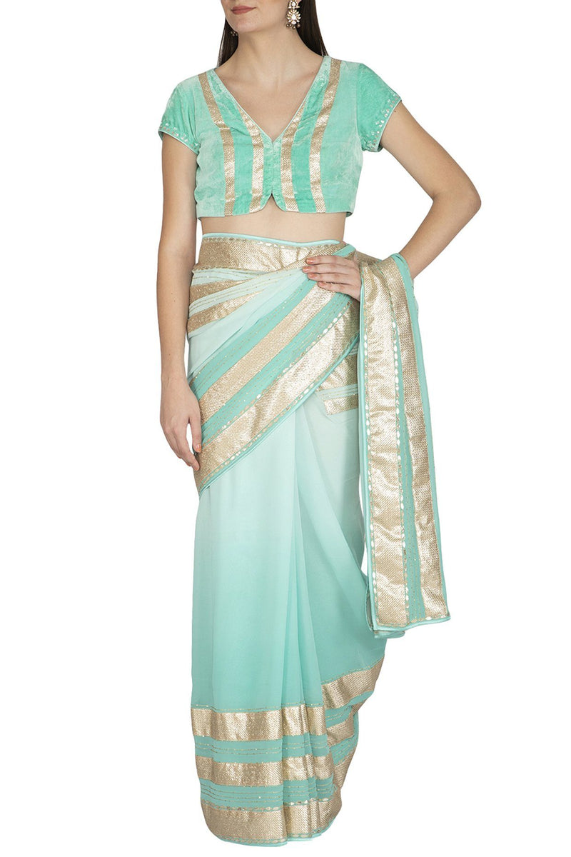 Aqua Shaded Ombre Saree - devnaagri