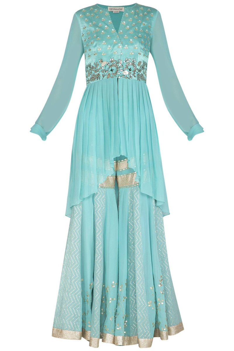 Aqua Sharara and Kurta - devnaagri