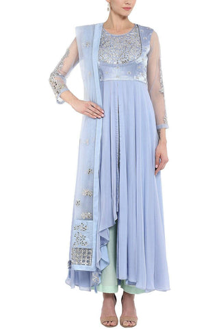 Ash Blue Anarkali with Churidar - devnaagri