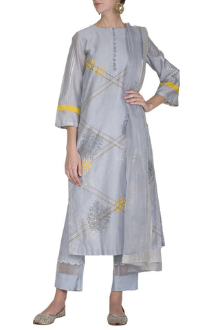 Ash Blue Chanderi Kurta With Pants - devnaagri