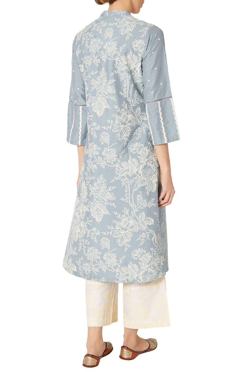 Ash Blue Cotton Silk Blend Hand Block Printed Kurta With Pants And Scarf