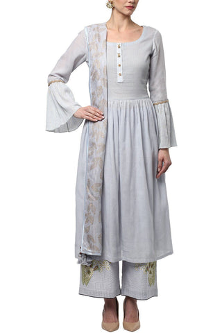 Ash Blue Suit with Pallazo Pants - devnaagri