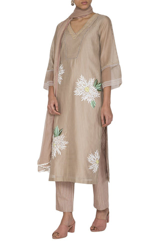 Beige Chanderi Straight Kurta With Pants - devnaagri