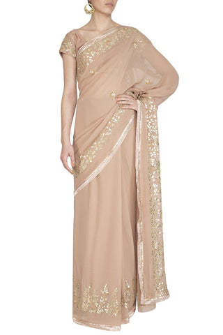 Beige Georgette Saree with Mukaish Chanderi Blouse - devnaagri