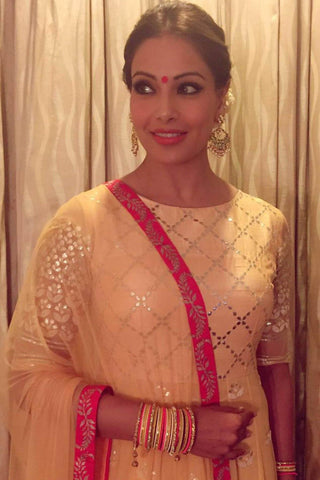Bipasha Basu Singh Grover In Mango Yellow Gota Patti and Embroidered Anarkali Set