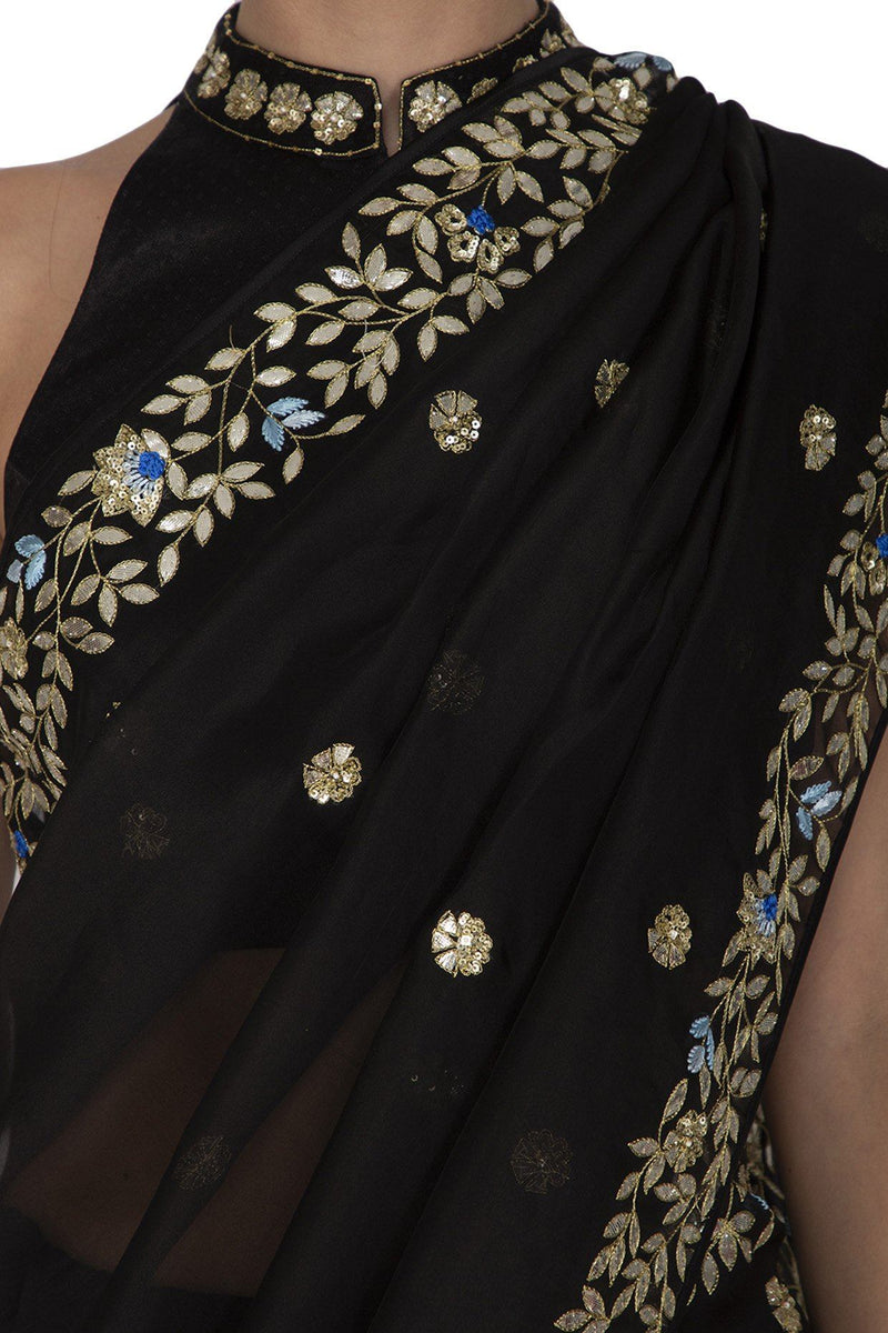 Black half and half Saree - devnaagri