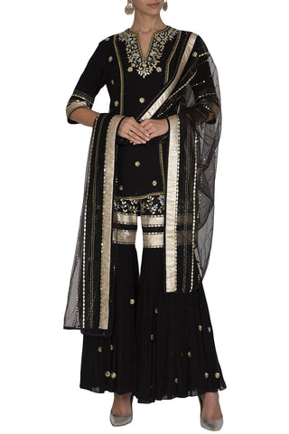 Black Sharara Kurta with Dupatta - devnaagri