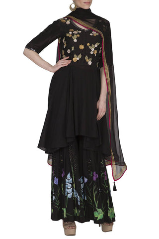 Black Sharara with Chiffon Dupatta Set - devnaagri