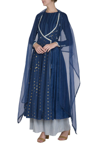 Blue Anarkali Kurta with Palazzo Pants - devnaagri