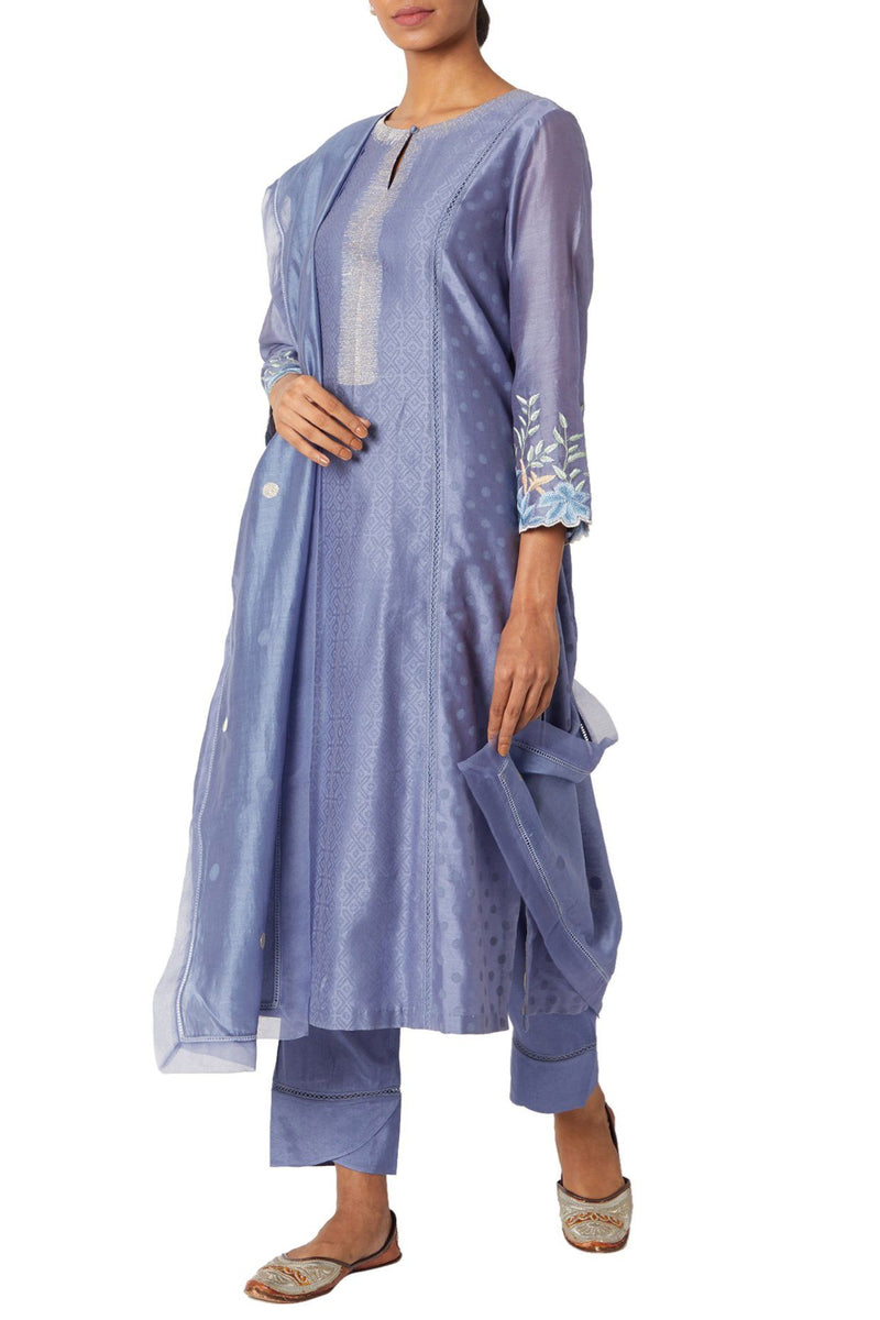 Blue Chanderi Kurta Set