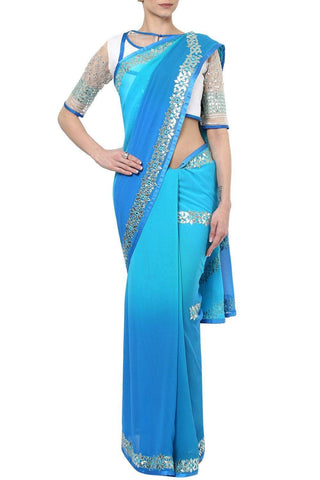 Blue Gota Patti Saree with Embroidered Blouse - devnaagri
