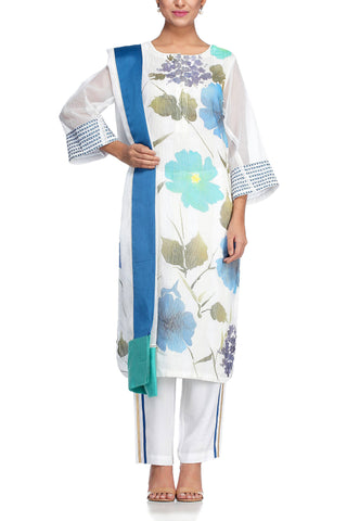 Blue Hand Painted Kurta with Slim Pant - devnaagri