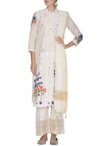 Blue Hand Painted Straight Kurta With Pants - devnaagri