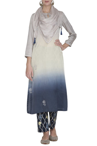 Blue Ombre Kurta with Pants - devnaagri