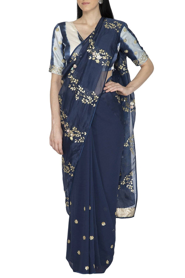 Blue Organza Saree with Tie & Dye pallu and Silk Blouse - devnaagri
