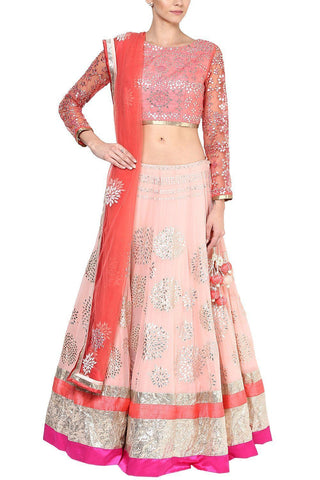 Blush Pink and Champagne Gota Patti Embroidered Lehenga Set - devnaagri