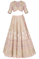 Blush Pink Georgette Lehenga with Mul Mukaish Blouse - devnaagri