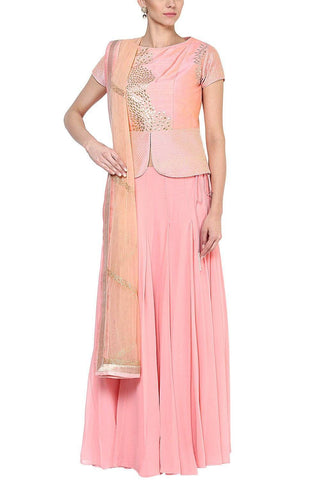 Blush Pink Gota Patti Work Peplum Blouse and Skirt Set - devnaagri