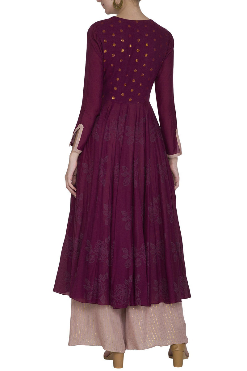 Burgundy Anarkali Kurta with Palazzo Pants - devnaagri